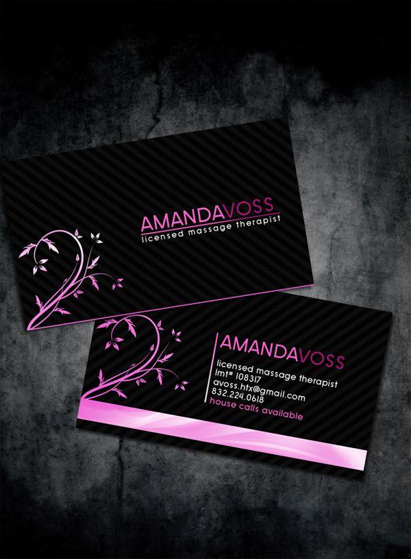 Modern and stylish massage therapist business cards