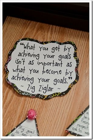 Start week back talking about goals & resolutions. My resolution will be to be healthier this year {aka: lose lbs. gained this 1st semester.} Have kids make goals for themselves either at home or school. Use lined paper like blogger here & head to Dollar Store again for fun scrapbook paper., party blowers & poms. Use to terrific Quote!!!