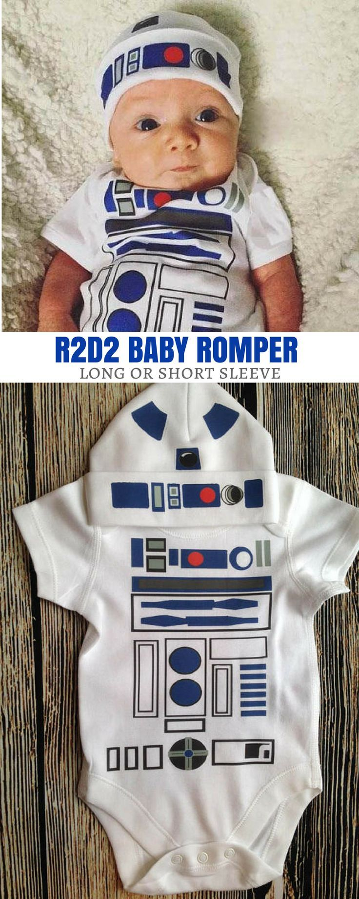 Beep-Bop the cutest R2D2 baby romper. I will definitely get this baby bodysuit for my little one. #commissionlink #starwars #r2d2 #romper #bodysuit #baby #geekbaby