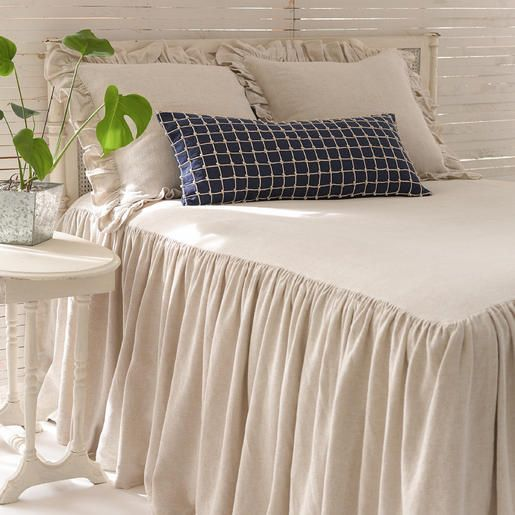 #PineConeHill Wilton Natural Bedspread. An all-new cotton/linen take on one of our best-selling products. Bedspread has 30-inch, gathered drop