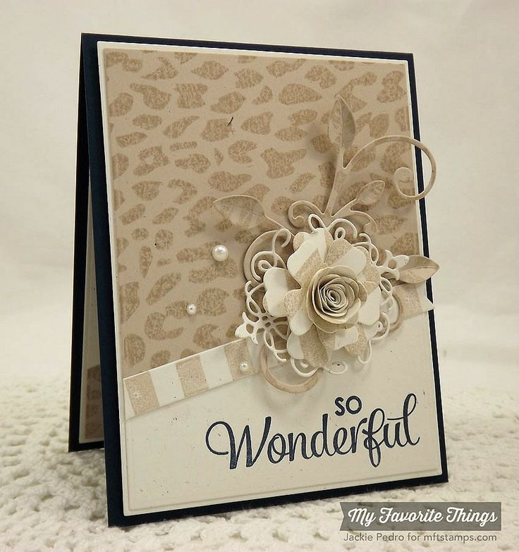 handmade card from The Scalloped Edge ... monochromatic krafts ... luv the flower montage ... subtle cheetah stamped pattern on main panel ... lovely card ... My Favorite Things