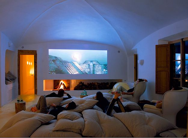 A pillow room with a big movie screen #newhome 32 Things You Need In Your Man Cave