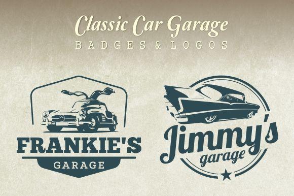 Classic Car Garage Badges & Logos by g design on @creativemarket