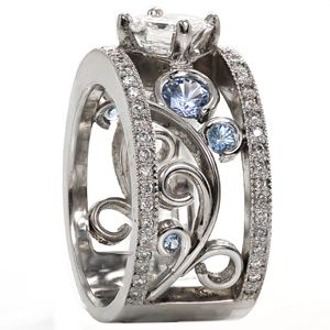 filigree engagement ring, ascher cut center diamond, sky blue sapphires, paved side