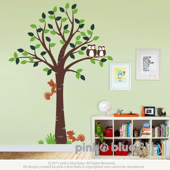 Tree with Owls and squirrels - Nursery Kids Removable Wall Vinyl Decal. $72.00, via Etsy.