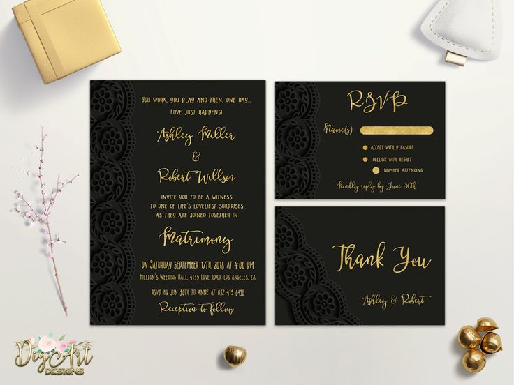 REPIN NOW for later! Lace Wedding Invitation Printable Gold Black Wedding Invitation Suite Matte Black Wedding Invite Elegant Faux Gold Foil Wedding Invite Set by DigartDesigns on Etsy