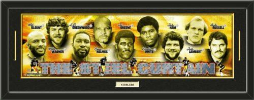 Pittsburgh Steelers The Steel Curtain Photoramic Composite Photo Collage Framed With Team Color Double Matting & A Name Plaque-Awesome & Beautiful-Must For Any Fan!