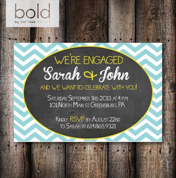 Chalkboard Chevron Engagement Invitation by ByOurLoveDesigns, $15.00
