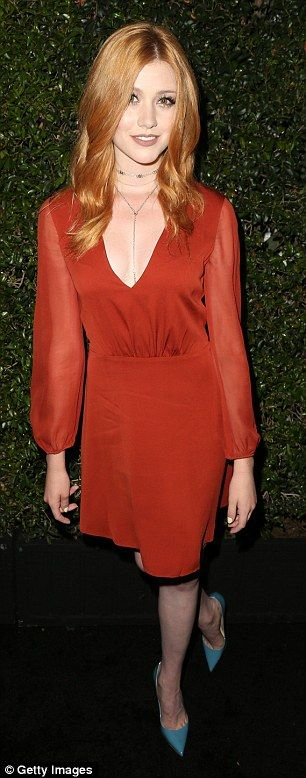 Simply scarlet: Katherine McNamara found a dress to matching her luxuriant red hair while ...