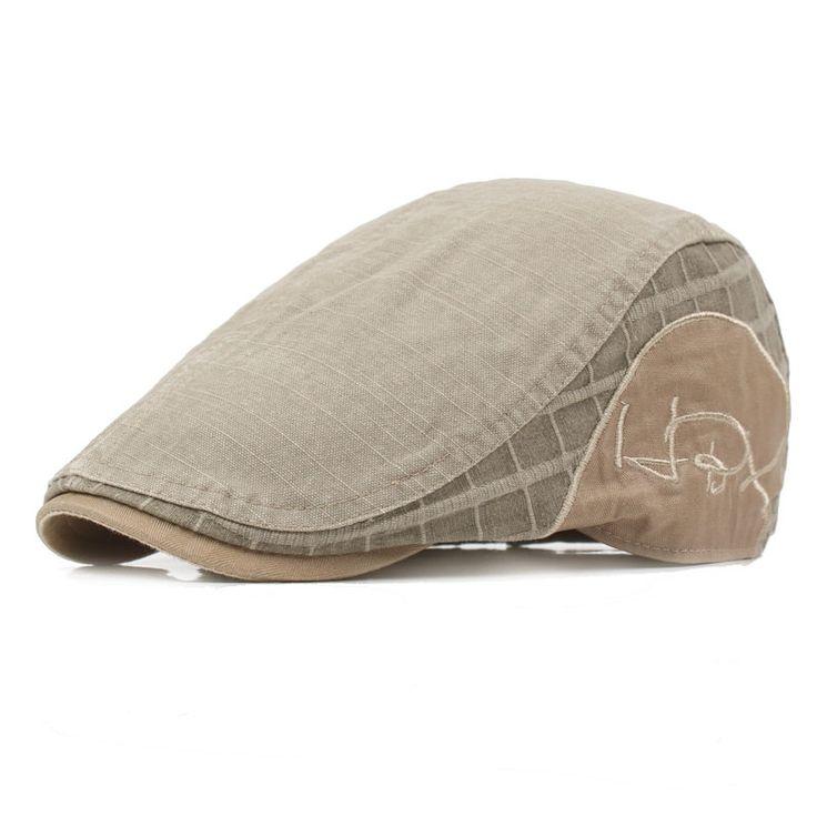 Men Cotton Washed Grid Beret Hat Buckle Adjustable Paper Boy Cabbie Golf Gentleman Caps