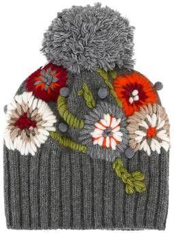 floral embroidery pompom beanie