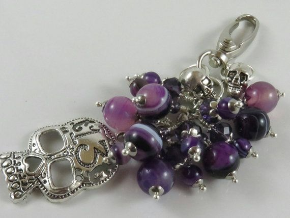 Check out this item in my Etsy shop https://www.etsy.com/uk/listing/491541472/purple-bag-charm-skull-bag-charm-gothic