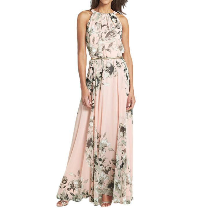 ‰ªÁ The tans will fade but the memories will last forever.‰ªÁ Summer Style Women Floral Print Chiffon Maxi Dress Casual Boho