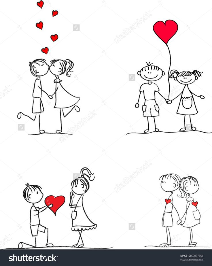 Set lovers boys and girls hand-drawn, vector, eps10