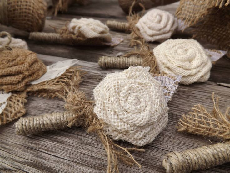 Burlap boutonniere for the groomsmen to match the bridal party