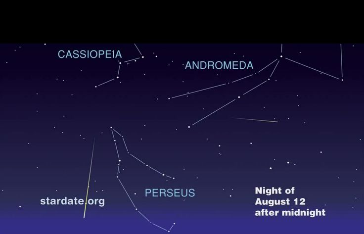 This map shows where to look for Perseid meteors on the night of August 12, 2013.