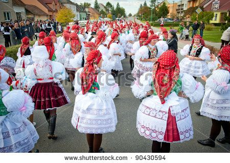 VRACOV - OCTOBER 15: People nad children in folk costume on The biggest folk feast in Czech Republic, Oct 15, 2011 in Vracov, Czech Republic. Feast Vracov - stock photo
