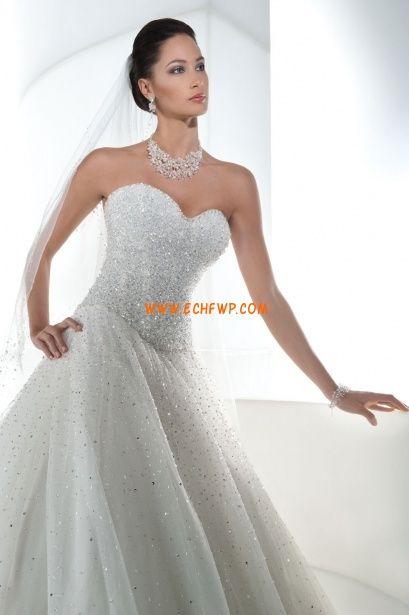 Princesa Cauda Longa Elegante & Luxuoso Vestidos de Noiva 2014