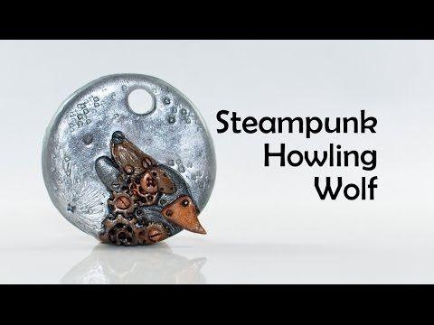 """Ciondolo meraviglioso in argilla polimerica; soggetto """"ululato del lupo con  meccanismi d'orologio"""" tecnica Steampunk (clockwork) howling wolf - polymer clay #TUTORIAL #ideas #inspiration"""