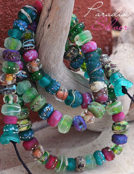 details about paradise silver lampwork bead strand handmade glass art with fineu2026