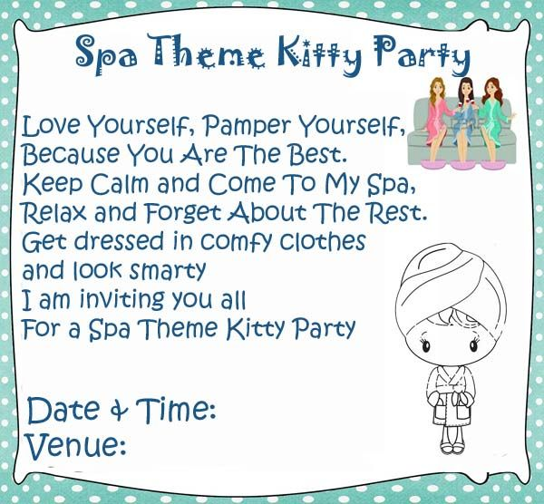 7 best kitty party images on pinterest invitation ideas party spa theme kitty party games and ideas spiritdancerdesigns Images