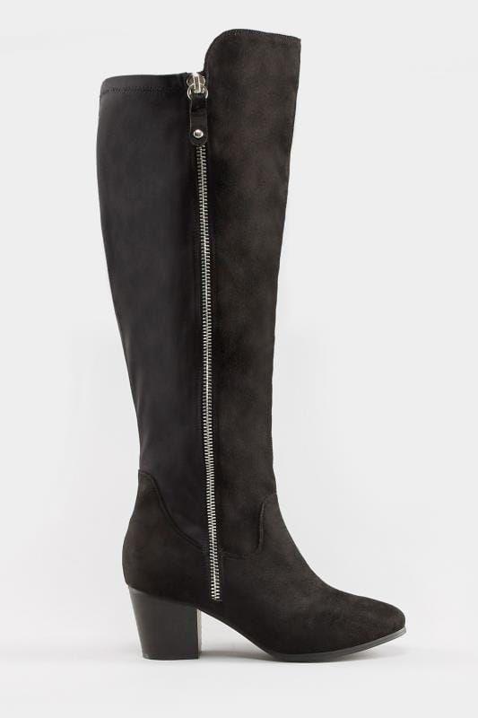 Plus Size Boots Black Knee High Zip Heeled Boots In EEE Fit