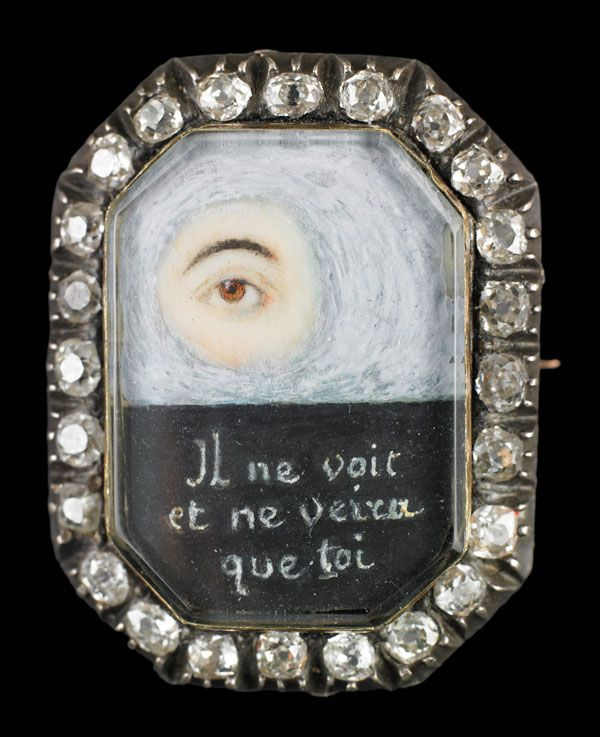 eye miniature brooch surrounded by diamonds, circa 1800: Lovers Eye Brooches, Eye Miniatures, Antique Eye, Brooches Surroundings, Victorian Mourning, Georgian Eye, Mystery Eye, Mourning Jewelry, Gold Brooches