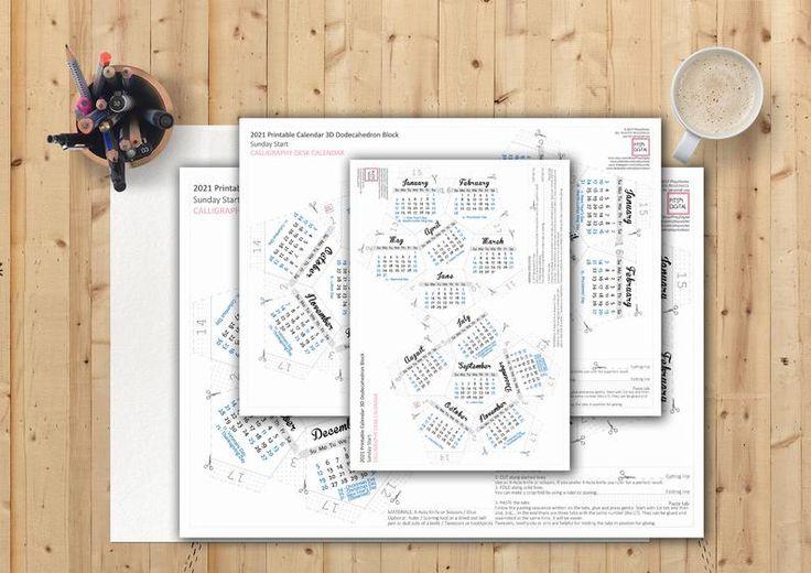 Printable Calendar 2021 Desk Calendar Dodecahedron ...