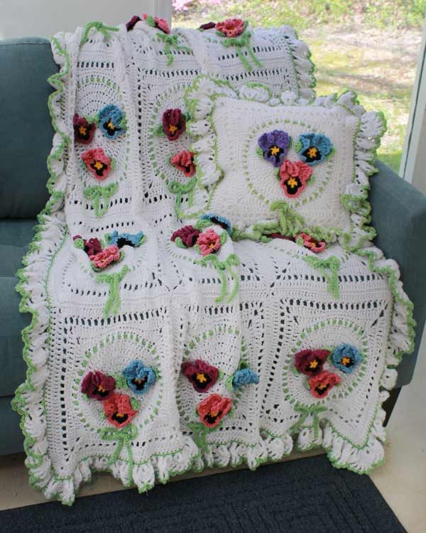 Maggie's Crochet · Pansy Afghan and Pillow Set Crochet Pattern