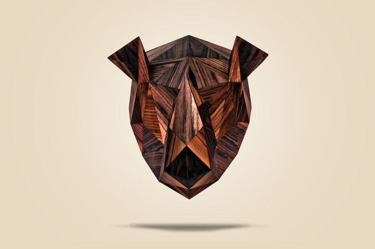 handcrafted low-poly wood rhino