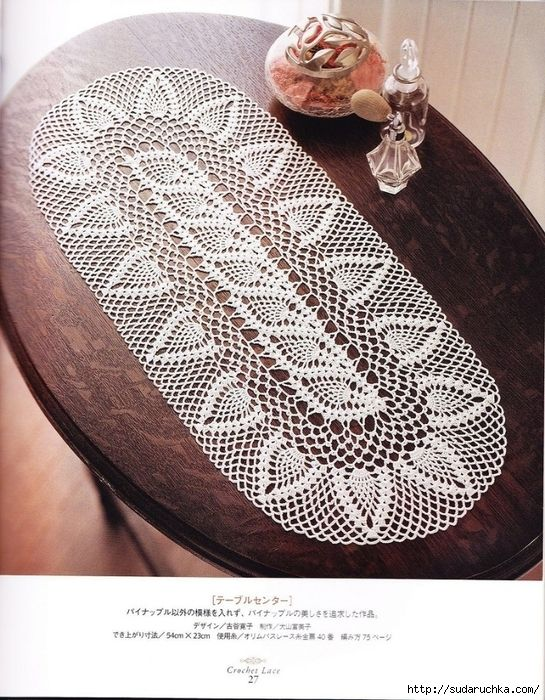 a lot of pineapple doilies and table runners with graphs.  awesome!  doily patterns I have never seen before :)