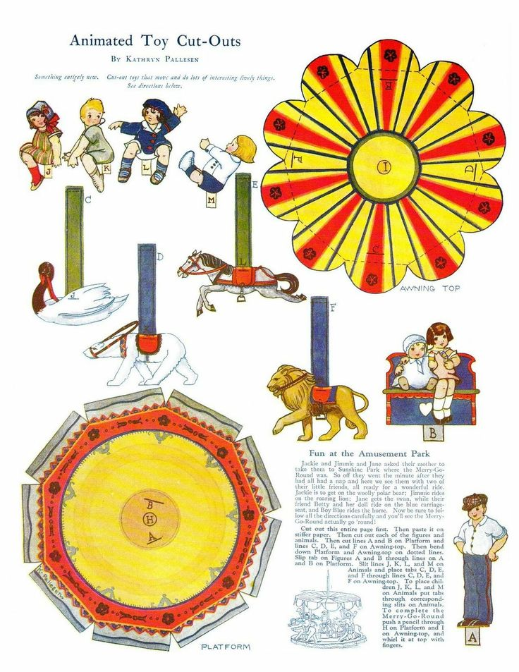 Free printable merry go round paper doll vintage style for Merry go round horse template