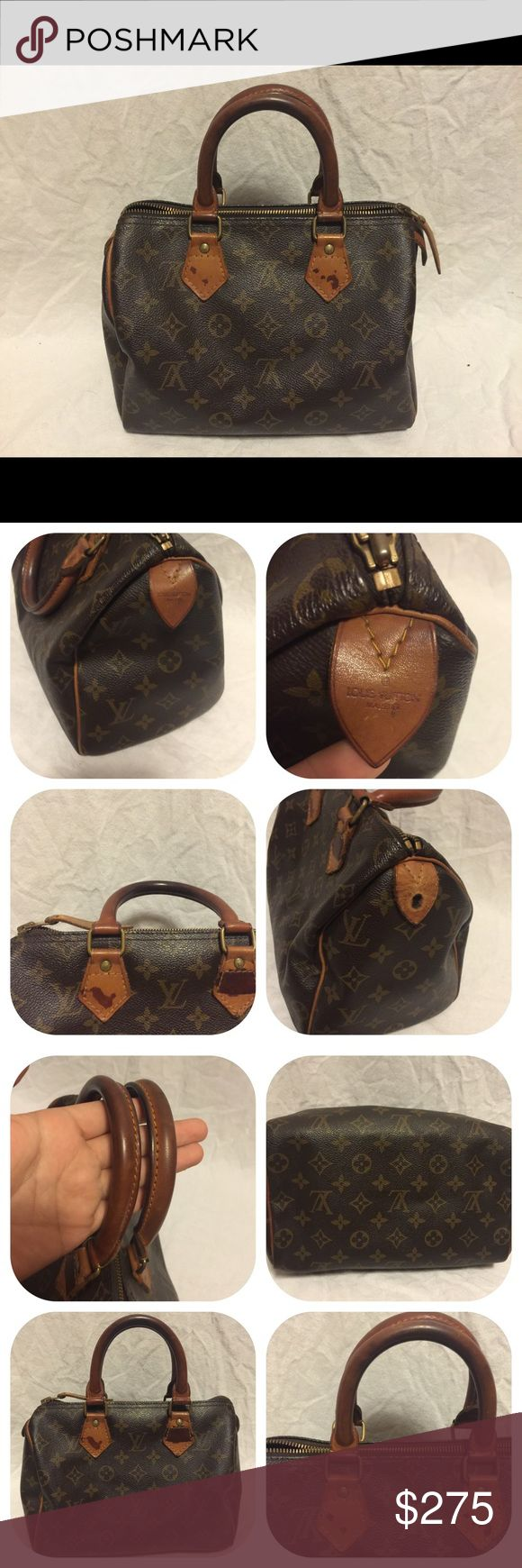 Authentic louis vuitton speedy 25 it is in used good condition  seri no: 892FC  Outside: monogram canvas is great condition   Tanned leather parts has some patinas, tiny dirt.  handle  has some scratches, black stain.  inside has tiny dirt   no dust bag, no key.  please see all pictures if you have any question please let me know %100 authentic and fast shipping! Louis Vuitton Bags Satchels