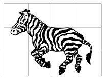 * Puzzel zebra van12 stukjes, plastificeren of   laten knippen/plakken!