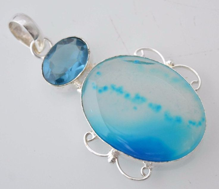 Blue Topaz-Botswana Lace Agate 925 Silver Plated Pendant Xmas Gift For Her E779 #valueforbucks #Pendant