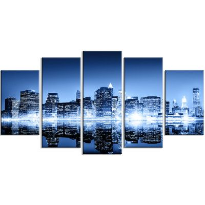 DesignArt 'Night New York City Mirrored' 5 Piece Wall Art on Wrapped Canvas Set