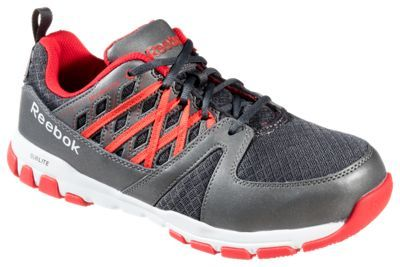 Reebok Sublite Work Steel Toe Work Shoes for Men - Gray/Red - 10.5M