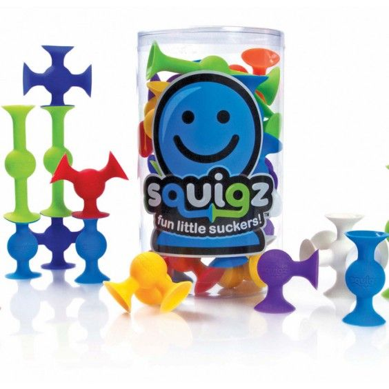 Using suction construction, Fat Brain Toy Co's Squigz can create all sorts of wonderful things - squeeze them together, and pull them apart with a satisfying pop #FatBrainToys #constructiontoy #Christmas2014