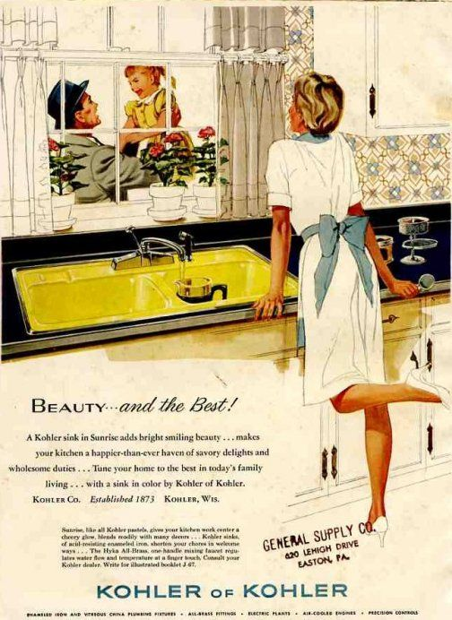 vintage-kohler-kitchen..looking for vintage kitchen sinks.  What a bizarre advertisement...woman has clothes on, you assume there is a family here.  The child apparently loves the father...the woman/mom/wife is enjoyng the view...wow.  I love the sink too.