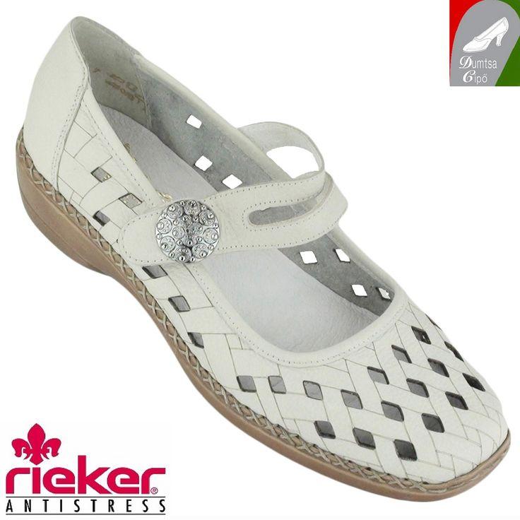"""Cikkszám: 41375-80 törtfehér  Puha bőrből készült, könnyű, tavaszi/nyári női bőr cipő a Riekertől. Ez a modell is """"antistress"""" tulajdonságokkal rendelkezik. Keresztpántja tépőzárral rögzíthető. A  cipőt a rombusz alakú kivágások szellőssé, puha talpbélése kényelmessé teszik akár egész napon át.  anyaga:   felsőrész: bőr  belsőrész: bőr/szintetikus  talp: szintetikus  sarokmagasság: 3 cm  szín: törtfehér  Ár: 18 990 Ft"""