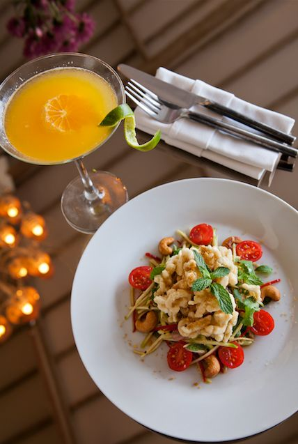 Crispy Calamari and Green Mango Salad. A fresh, spicy, tangy salad with coriander - a favourite for lunch or a light afternoon bite.