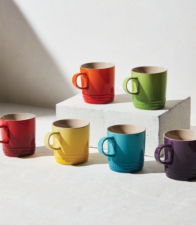 Le Creuset Rainbow Mug Set These Bright Cheerful Mugs Add A Dose Of Happy Color To Any Kitchen Mugs Mugs Set Le Creuset Stoneware