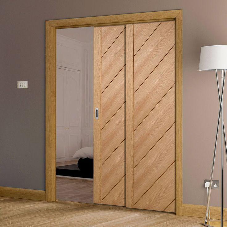 Twin Telescopic Pocket Monza Oak Veneer Door