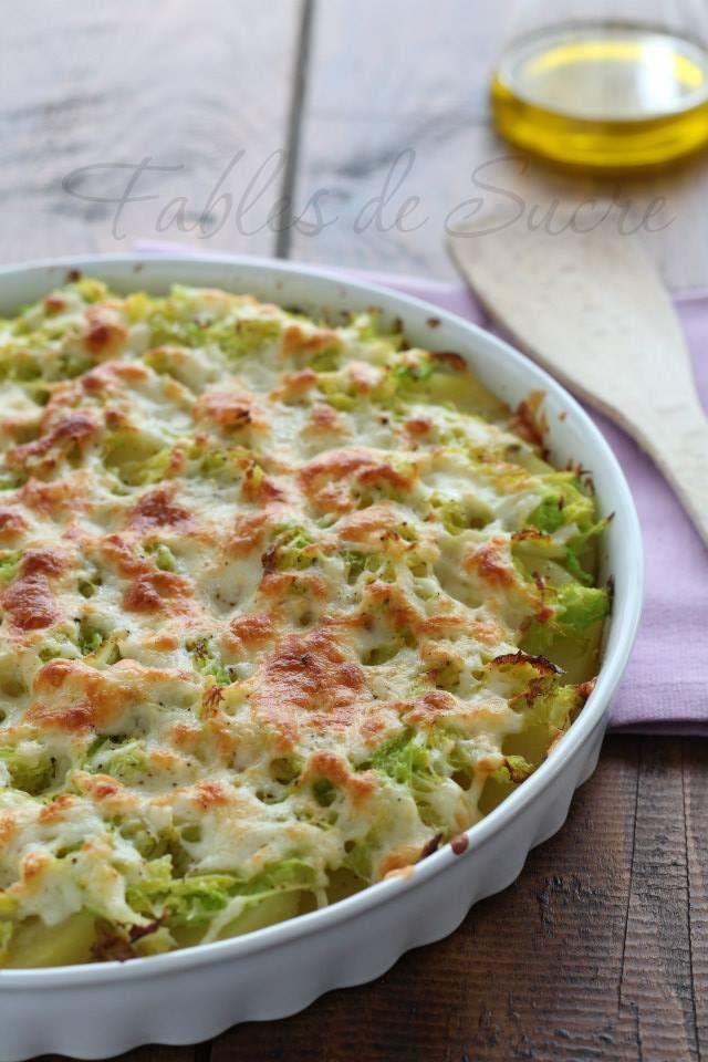 Patate al forno con verza e asiago: