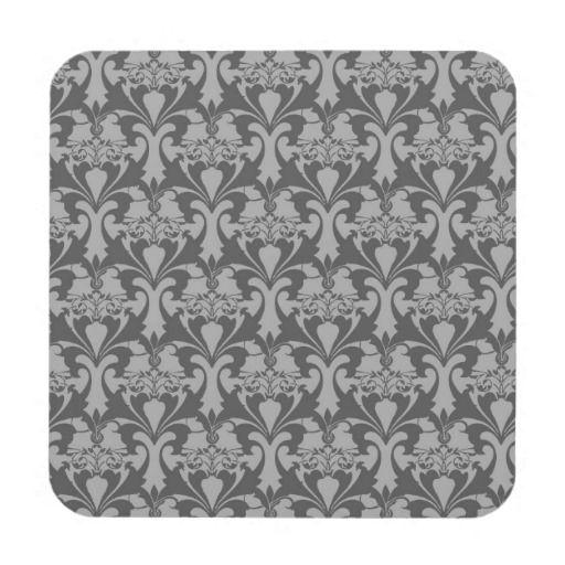 Grey Damask Pattern Hard Coaster