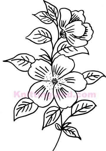 Hand drawn flower embroidery design needle arts