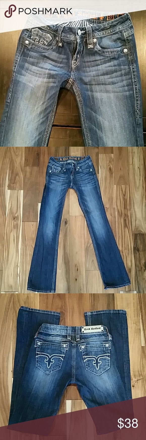 Like new size 27 Rock Revival Jeans Only wore these a few times before I got pregnant and gained too much weight to wear them. Love these jeans!! Rock Revival Jeans Boot Cut