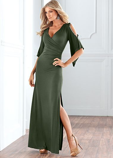 "Venus.com 	 Slit Sleeve Maxi Dress $39  Elegant and sensual, just like you. · 	 Silver embellished detail at slit sleeves   · 	 Ruched surplice neckline   · 	 24"" slit   · 	 42"" in length from natural waist   · 	 Rayon/spandex   · 	 Imported  · 	Style #Y38740"