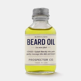 """Beard-management products from Savannah, GA's Prospector Co., including aftershaves like the K.C. Atwood (witch hazel, sweet orange, aloe) and beard oils like the sandalwood Burroughs, which they claim smells like """"freshly chopped forest woods and a dusty carpenter's workshop."""