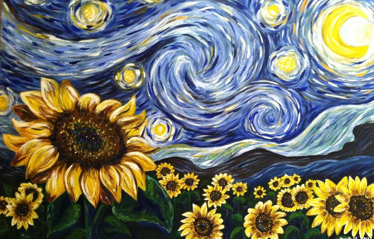 starry night sunflower field